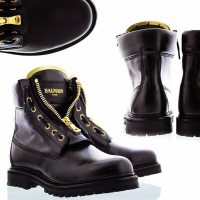 balmain boots Womens zipped logo leather boots gold zip balmain balmain